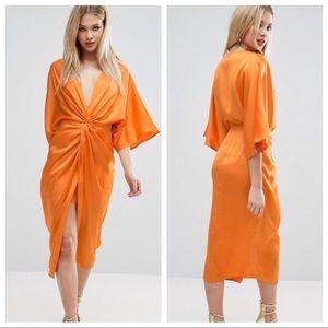 ASOS Kimono Twist Front Midi Dress - Burnt Orange